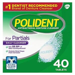 Polident Partials, Antibacterial Denture Cleanser 40 ea